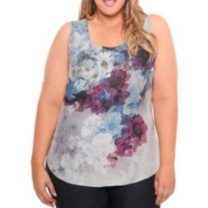 NWT Torrid Womens Tabk Top Size 3X Blue Floral